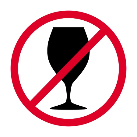 sign not drink,  glass in the red circle Ilustração