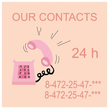 pink caller phone , contacts Vector