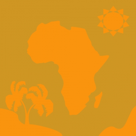african continent with sun and palm Illustration