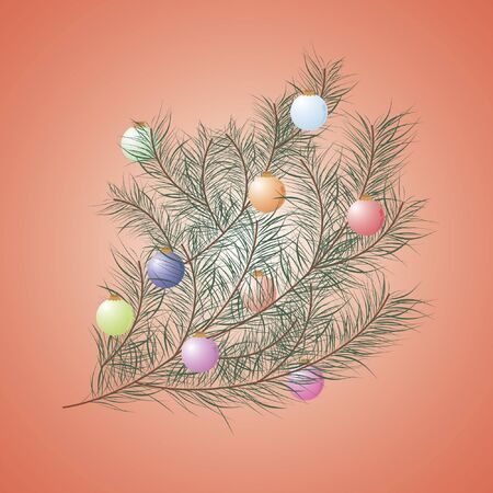 Christmas tree decorated with Christmas toys in the branch Vector