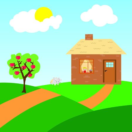 Farm house with apple trees and sheep Vector