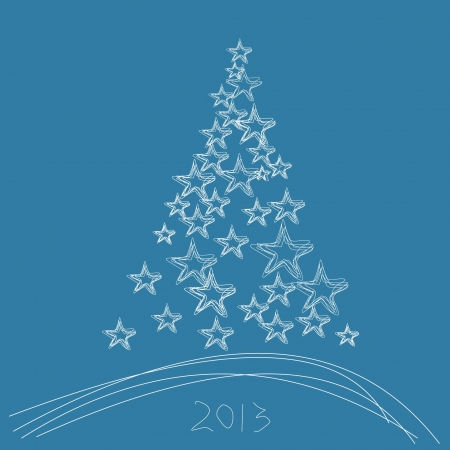 Christmas tree 2013 with stars on a blue background