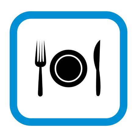 restaurant sign, fork, knife and plate in blue