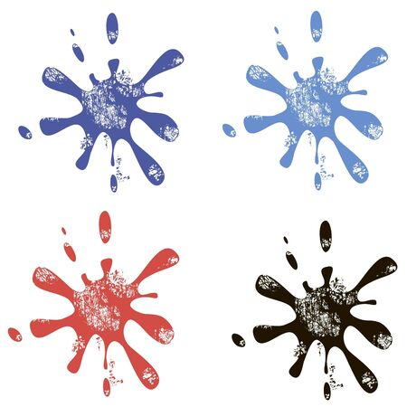 blobs in red black and blue inks