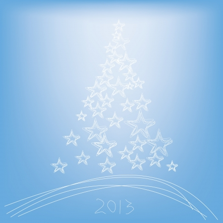 Christmas tree 2013 with stars on a blue background Vector
