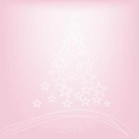 Christmas tree 2013 with stars on a pink background