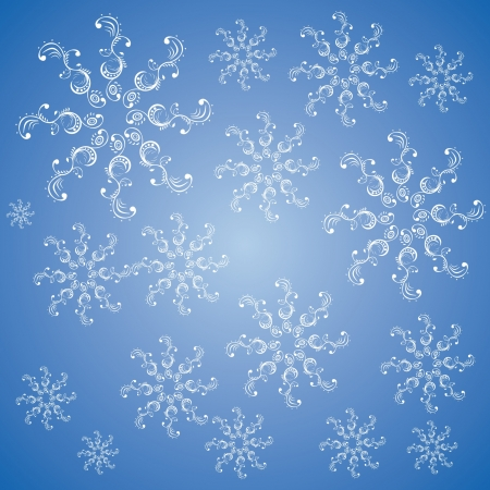 Christmas snowflakes on a blue background Vectores