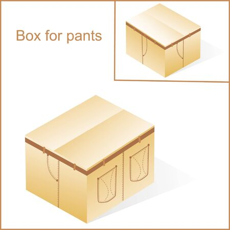 box, cardboard  for jeans or pants packing, with denim lines style, closed Vector