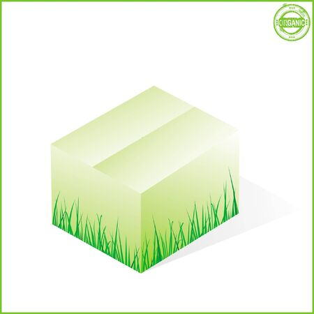 box with grass, cardboard from organic raw materials, green, closed Stock Vector - 15354274