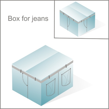 overnight delivery: box, cardboard  for jeans or pants packing, with denim lines style, closed Illustration