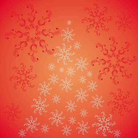 Christmas tree ornaments with snowflakes on a red back Vector