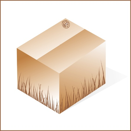 box with grass, cardboard from organic raw materials, green, closed Vector