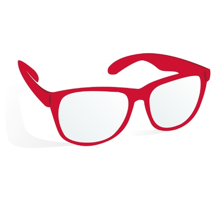 glasses of red color on a white background with shadow