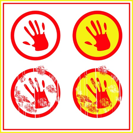 stop sign red hand in circle Vector
