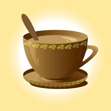 brown coffee cup and saucer with spoon Illustration