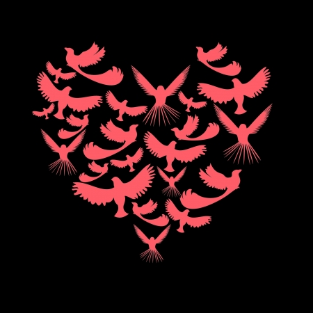 Birds in the outline of the heart Vector