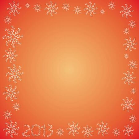 Christmas frame with snowflakes on a red background 2013 Illustration