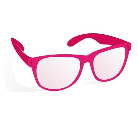 影と白い背景の上にピンクのメガネ