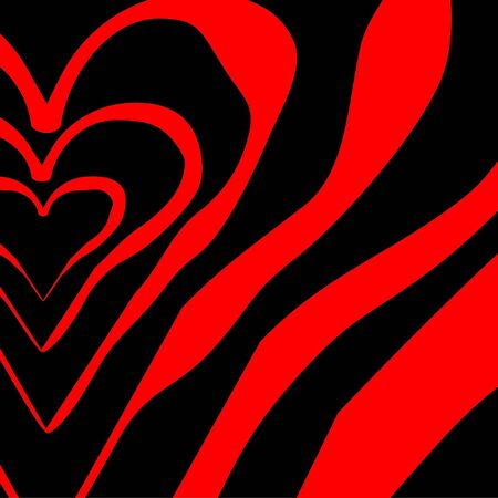big red hearts on a black back Vector