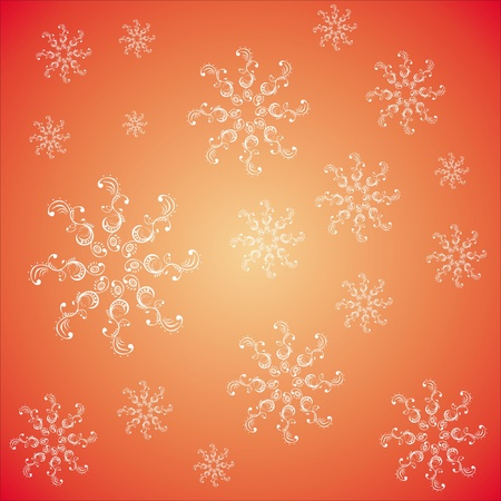 seamless pattern with snowflakes on a red background Stock Vector - 15354391