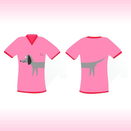 Pink  t-shirt with rate dog design