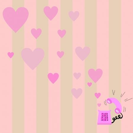 Pink ringing love phone Vector