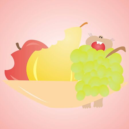 mouse eats fruit, apple, pear, grapes on the plate, on a pink background