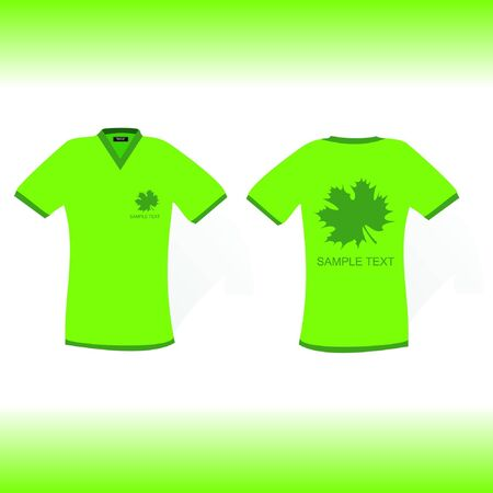 green t-shirt with fresh leaf design Stock Vector - 15354126