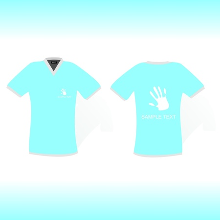 blue t-shirt with hand sign design Vector