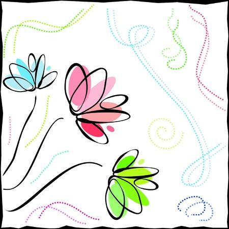 flores de cumplea�os: contornos coloreados de flores