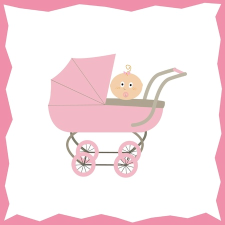 baby girl in a pink stroller, pram, buggy Vector