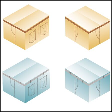 overnight delivery: boxes, cardboard  for jeans or pants packing, set with denim lines style, closed Illustration
