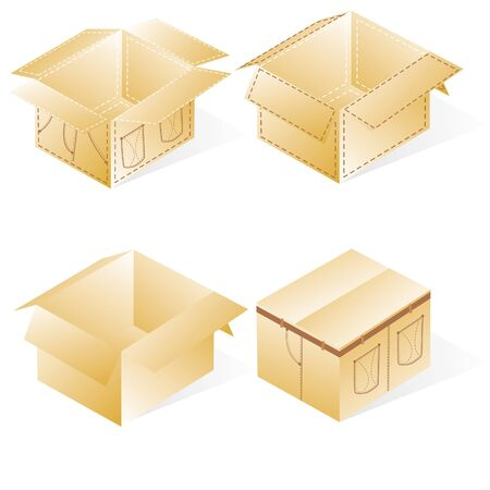 overnight: boxes, cardboard  for jeans or pants packing, set with denim lines style, closed Illustration