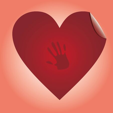 Heart with hand red labels, sticker for goods, illustration