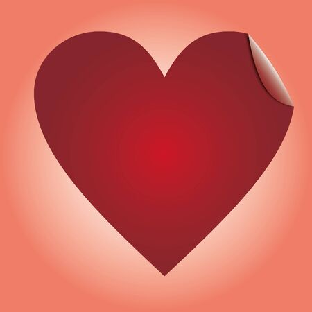 peeled: Heart red labels, sticker for goods, illustration Stock Photo
