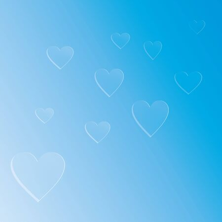 Background white and blue hearts on a blue, heart background