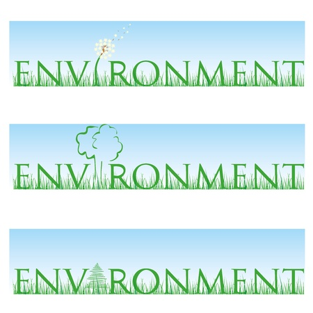 environment set with grass, tree, fir-tree and, dendelion Vector