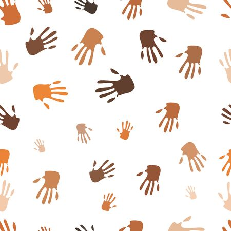 Seamless pattern of hand, people of different races, illustration Stock Vector - 20563939