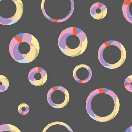illustration, seamless pattern of color circles on a black back