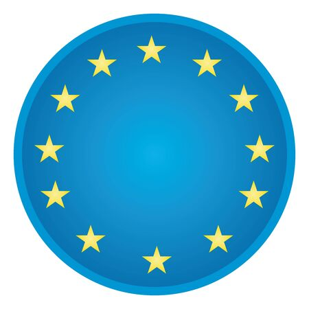 illustration of blue button with European Union emblem, isolated on white background Vector