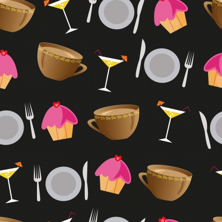 Seamless background with cakes, cocktails, plates and cups for restaurant Illustration