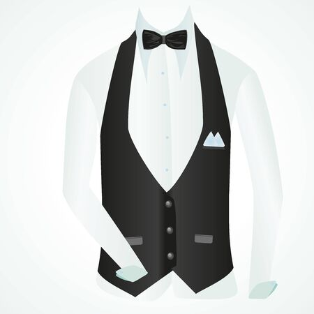 vest shirt and bow tie in business style