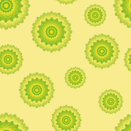 seamless pattern with green and yellow flowers. Elegant illustrations for textile or fabric printing. Fresh summer motives Illustration