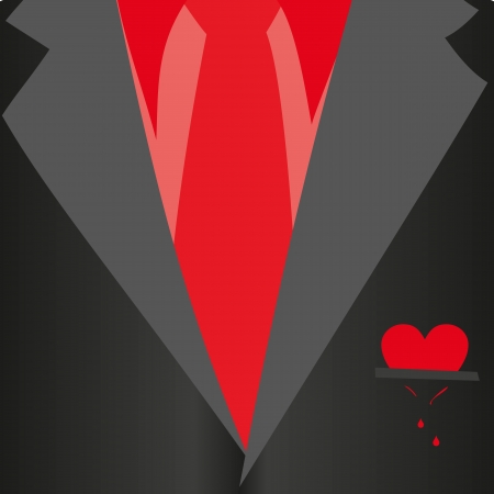 Suit with bleeding heart, classic, red shirt, red tie, black jacket in close-up Business style Mail costume close-up, background illustration Romantic gift card for Valentines day Illustration