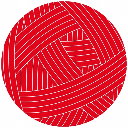 clew: illustration of wool ball  Red clew Illustration