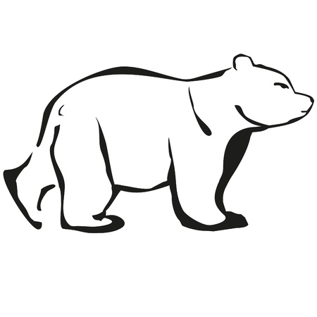 bear white logo black outlines Vector