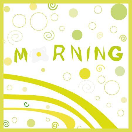新鮮な卵と緑の背景のイラスト、幸せな夏の朝