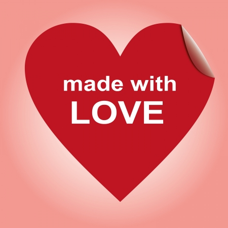 Heart red labels, sticker for goods, made with love Vector