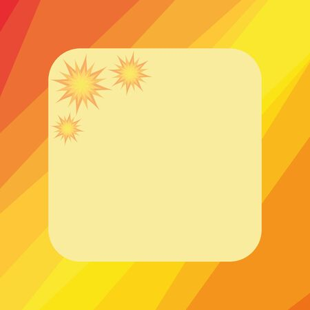 Frame with cartoon flowers or stars  On yellow and orange background