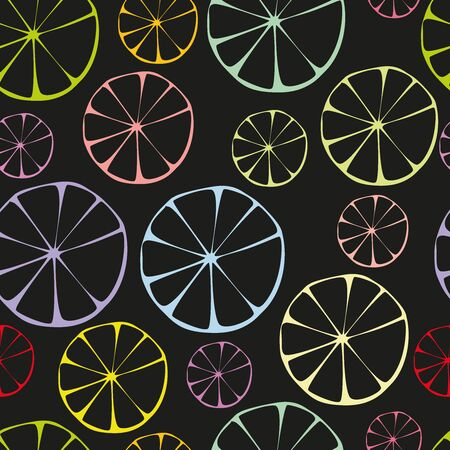 Citrus seamless background  Grapefruit, lemon, orange and lime Vector